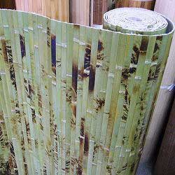 Бамбуковые обои зелёные с рисунком 100 см