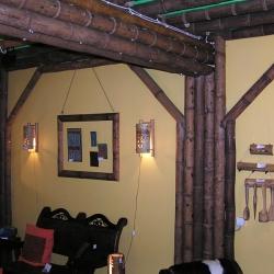 Оформление стен бамбуком